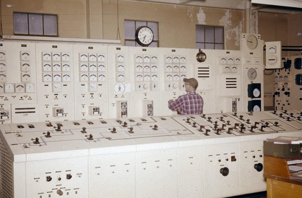 Tiger Creek Powerhouse switchboard. April 1963.
