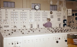 Tiger Creek Powerhouse switchboard. April 1963.